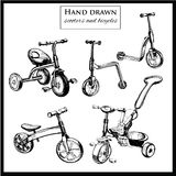 Set hand drawn scooters and bicycles. Vector illustration of set hand drawn scooters and bicycles. Graphic template for design Stock Image