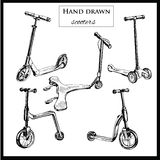 Set hand drawn scooters. Vector illustration of set hand drawn scooters. Graphic template for design Stock Images