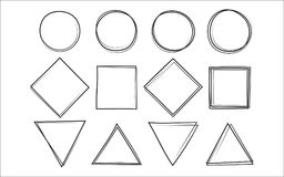 Set of the hand drawn scribble circle and square and triangle Royalty Free Stock Image