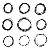 Set of Hand Drawn Scribble Circles. Grunge circle set. Round Frames, grunge textured hand drawn elements for design. vector illustration