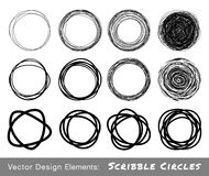 Set of Hand Drawn Scribble Circles Stock Photo