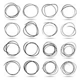 Set of 16 Hand Drawn Scribble Circles Royalty Free Stock Photos
