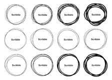 Set of 12 Hand Drawn Scribble Circles, vector logo Royalty Free Stock Images