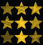 Set Of Hand Drawn Scribble Gold Stars, Icon Vector Design Set 1. Set Of Hand Drawn Scribble Gold Stars, Icon Ornament Vector Design Set 1 Stock Images