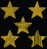 Set Of Hand Drawn Scribble Gold Stars, Icon Vector Design Set 2. Set Of Hand Drawn Scribble Gold Stars, Icon Vector Ornament Design Set 2 Stock Photo