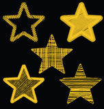 Set Of Hand Drawn Scribble Gold Stars, Icon Vector Design Set 3 Stock Images