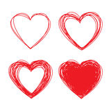 Set of Hand Drawn Scribble Hearts Stock Image