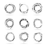 Set of hand drawn scribble isolated circles Stock Photos