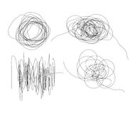 Set of hand drawn scribble line shapes isolated on white Stock Photo