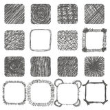 Set of hand drawn scribble shapes. Vector design elements. Lines Royalty Free Stock Images