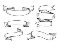 Set of  hand drawn  scrolled ribbons. Old styled engraved Royalty Free Stock Images