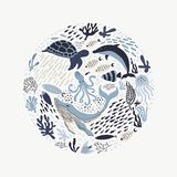 Set with hand drawn sea life elements. royalty free illustration