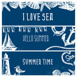 Set of hand drawn sea themed banners. Seagull,lighthouse, Vector Illustration