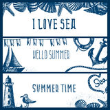 Set of hand drawn sea themed banners. Seagull,lighthouse, Royalty Free Stock Photo