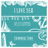 Set of hand drawn sea themed banners. Seagull,lighthouse, Royalty Free Stock Photography