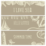 Set of hand drawn sea themed banners. Seagull,lighthouse, Royalty Free Stock Images