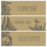 Set of hand drawn sea themed banners. Seagull,lighthouse, Stock Photos