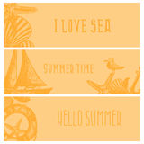 Set of hand drawn sea themed banners. Seagull,lighthouse, Royalty Free Stock Photos