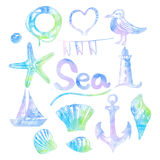 Set of hand drawn sea themed banners. Seagull,lighthouse, Royalty Free Stock Image