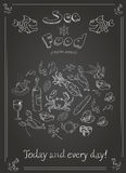 Set of hand drawn seafood on blackboard Royalty Free Stock Photography