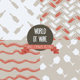 Set of hand drawn seamless backgrounds with bottles and glasses for wine. World of wine patterns, vector illustration Stock Illustration