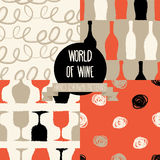 Set of hand drawn seamless backgrounds with bottles and glasses for wine. World of wine patterns, vector illustration Royalty Free Illustration