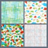 Set of hand-drawn seamless brush strokes patterns. Royalty Free Stock Photo