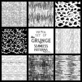 Set of hand-drawn seamless brush strokes patterns. Royalty Free Stock Images