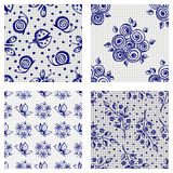 Set of hand drawn seamless floral patterns with flowers, butterflies, ladubugs Stock Photos