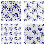 Set of hand drawn seamless floral patterns with flowers, butterflies, ladubugs Stock Photo