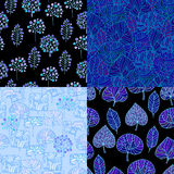 Set of Hand Drawn seamless floral patterns.Stylized Decorative l Stock Image