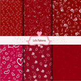 Set of hand-drawn seamless heart patterns editable Royalty Free Stock Photography