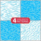 Set of hand drawn seamless marine lines patterns. Abstract shabby textured background. Set of hand drawn seamless marine lines patterns. Abstract shabby royalty free illustration