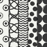 Set of hand drawn seamless pattern with black grunge rings, circle. Wrapping paper. Abstract vector background. Brush Royalty Free Stock Photo