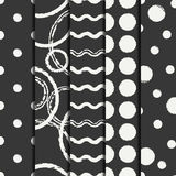 Set of hand drawn seamless pattern with black grunge rings, circle. Wrapping paper. Abstract vector background. Brush Royalty Free Stock Image