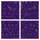 Set of hand drawn seamless pattern with Kitchen Utensils. royalty free illustration