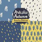 Set of hand drawn seamless patterns for autumn seasons Stock Photography