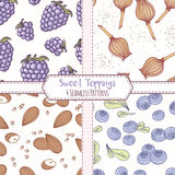 Set of hand drawn seamless patterns with blackberry, poppy, almond and blueberry. Sweet toppings backgrounds. Vector illustration royalty free illustration