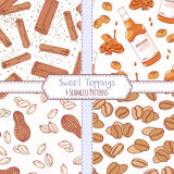 Set of hand drawn seamless patterns with cinnamon, bourbon caramel, peanut and coffee beans. Sweet toppings backgrounds. Vector illustration Stock Image