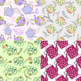 Set of hand drawn seamless patterns with cute teapots Stock Images