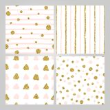 Set of 4 hand drawn seamless patterns in gold, pastel pink. Stripes, polka dots, triangles, round brush stroke patterns royalty free illustration
