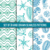Set of 3 hand-drawn seamless patterns royalty free illustration