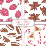 Set of hand drawn seamless patterns with raspberry, anise star, chocolate cookie and christmas candycane Stock Photo