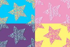 Set of hand drawn seamless patterns with stars. Bright vector background Royalty Free Stock Photos
