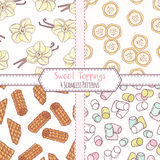 Set of hand drawn seamless patterns with vanilla, banana, waffles and marshmallow. Sweet toppings backgrounds. Vector illustration Stock Image
