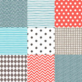 Set of 9 hand drawn seamless patterns Stock Photo