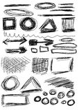 Hand drawn shapes, circle, square Royalty Free Stock Photos
