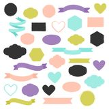 Set of hand drawn shapes in different colors. Hearts, banners, circles and ribbons etc. Hand drawn vector various design elements for labels, tags or stamps and Royalty Free Illustration