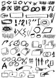 Set hand drawn shapes, line, circle, square Royalty Free Stock Images