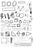 Set hand drawn shapes, line, circle. Square, triangle Royalty Free Stock Image
